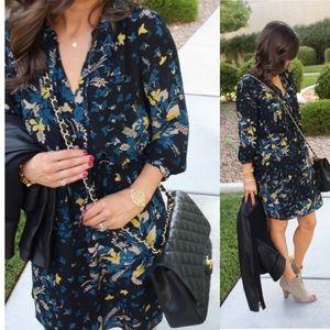 Ann Taylor Loft Dress black and blue floral dress